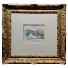 Paul Emile Pissarro -Horse & Haystack Cart in a Farm - Painting