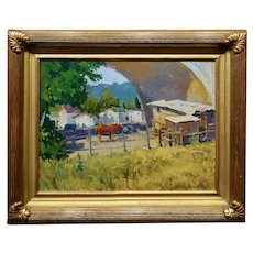 Ovanes Berberian-Horse Farm under the Pasadena Arroyo Seco bridge-Oil Painting
