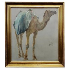 Hugo Vilfred Pedersen-Portrait of a Camel-Orientalist Oil painting c.1900s