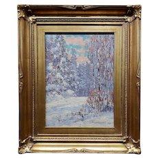 Alfred Jansson -1925 Minnesota Winter Landscape-Impressionist Oil Painting