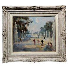 Edmond Langotiere -Children w/Parents at the Park in Paris-Oil painting