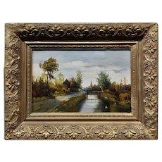 Paul Joseph Constantin Gabriel -19th century Dutch Canal landscape -Oil painting