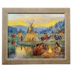 Hubert Wackermann -Native American Campfire with Teepees -Oil painting