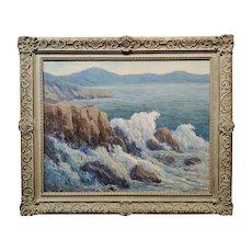 Mabel Vinson Cage -1950s Malibu rocky coastline - California Oil painting