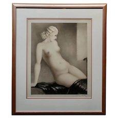Louis Icart 1932, Seated Female Nude W/Black Shawl-Original Etching
