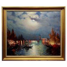 Richard De Ribcowsky - Moonlight over the Venetian Lagoon-Oil painting c.1920s