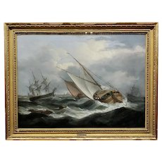 Thomas Luny -Dutch Sailboats in Choppy Waters-18th century Oil painting