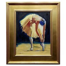 Spelman - Ballerina stretching - Oil painting