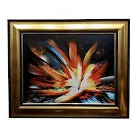 Leonardo Nierman -Magic Explosion of Fire -Abstract Oil painting