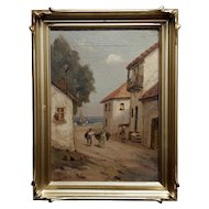 Italian Village by the Sea -Oil painting on canvas -1900s
