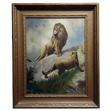 Pair of Lions - 19th century Victorian Oil painting on canvas