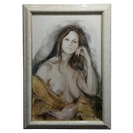Sheldon C Schoenberg - Portrait of a Beautiful Nude Woman - 1970s Painting