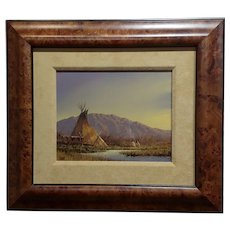 Mark Geller -  Teepees in an Indian Camp -Oil painting