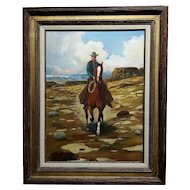 Arthur Roy Mitchell -Cowboy on Horseback in a Desert Landscape-Oil painting