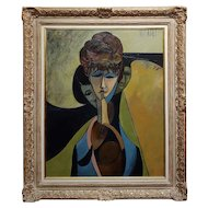 Philippe Marchand -Three faces of Women-Fabulous 1960s Cubist Oil painting