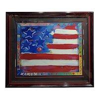 Peter Max - US Flag with Harts - Original Serigraph