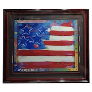 Peter Max - US Flag with Harts - Original Serigraph