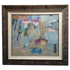 Bolgar -Sitting Female Nude with pink blanket-oil painting