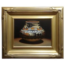 Lisa Danielle- Beautiful Acoma Painted Vase -Oil painting