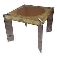 1970s Milo Baughman Burl wood center Table with Lucite Legs