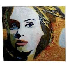 Sonia Gold -Portrait of a Beautiful Woman w/Blue eyes -Mix Media Painting