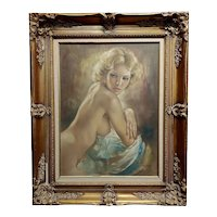 Leo Jansen - Sexy Blonde Playmate - Oil painting