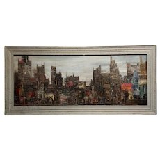 Corrigan - 1964 Downtown Manhattan skyline - Mid century Oil painting