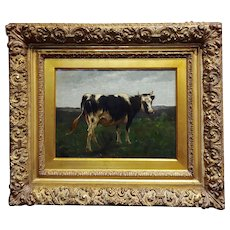 19th century English School -Portrait of a Cow -Oil painting