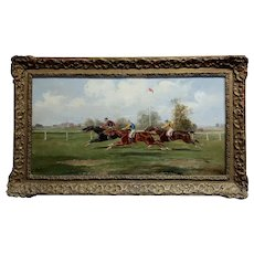19th century Horse Race - Oil painting  oil painting on canvas