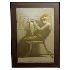 Edmund Philo Kellogg - Art Deco Red Head Female -Oil painting-c1930s