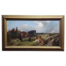 19th century English School -Horse & two dogs in Landscape-Oil painting