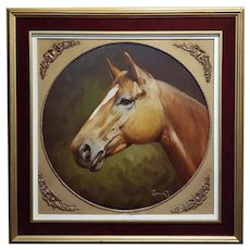 Marco Antonio Zepeda -Portrait of a Thoroughbred Horse -Oil painting