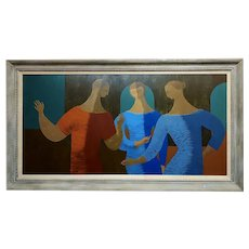 Flavio Cabral -3 female figures-Mid century modern Oil painting
