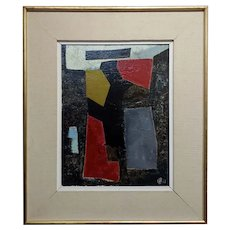Untitled Abstract - 1960s Mid century Modern Oil painting -Signed