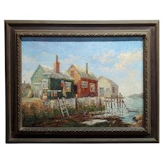 Norman R. O'Brien -Rockport, Massachusetts Harbor-Oil painting-c1950s