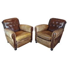 Vintage French Leather Club Chairs - A Pair