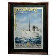 Abel Brun -Messageries Maritimes-Original 1907 Steam Boat French Poster