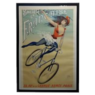 Cycles Société La Française -Girl on Bicycle-Original 1900 French Poster by Pal