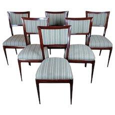 Vintage Italian Art Deco Mahogany Dining Chairs -Set of 6