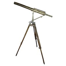 19th century Brass Telescope w/adjustable Oak Tripod