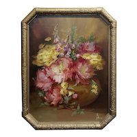 Florine Hyer - Beautiful Still Life of Flowers - Oil painting -c1900