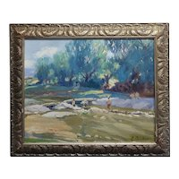 Summer at the River-California Impressionist Oil painting-E. Andia