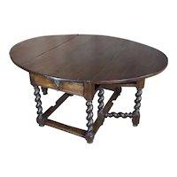 17th century Walnut Gateleg drop leaf Table w/Barley Twist legs
