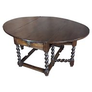 17th century Walnut Gateleg drop leaf Table w/Barley Twist legs