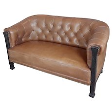 Fabulous Vintage English Library Sofa w/Tufted brown Leather