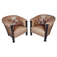 Fabulous Vintage Club Chairs w/Tufted brown Leather-a Pair