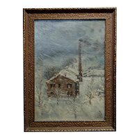 L. Fischer - Power Plant in Dayton,OH during a Storm -Oil painting c1900s