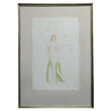 Duane Van Vechten (Taos 1899 -1977)-Nude Nymph & White Lillies-Painting