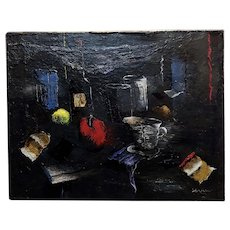 Howard Warsaw -Still Life on a Kitchen Table-Expressionist Oil painting-c1950s