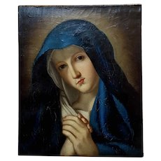 Madonna at Prayer - 18th century Study Italian Oil painting